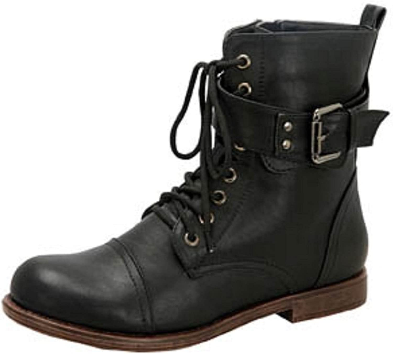 De-Blossom-Collection Cana-4 Women's Lace-up Leatherette Combat Boots