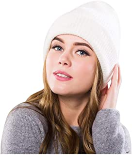 Ausexy_ Thick Warm Winter Beanie Hat Soft Stretch Slouchy Knit Cap Winter Warm Ski Cap