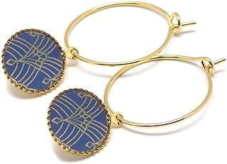 Mini orecchini cerchio art deco arabeschi oro blu ottone dorato oro fino 24 carati resina regali di natale amici cerimonia...