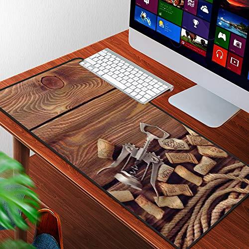Luoquan Alfombrilla Raton Grande Gaming Mouse Pad,Bodega Corchos de Vino sobre Suelo de Madera rústico Elementos de Licor orgánico n,Lavable, Antideslizante Diseñada para Gamers, Trabajo de Oficina