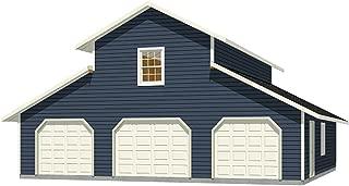 Garage Plans: Three Car Monitor Garage With Center Loft - Plan 1600-1