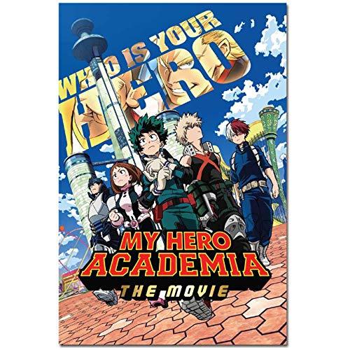 yhnjikl My Hero Academia Japanese Anime Art Silk Movie Boku no Hero Academia Poster Print Cartoon Decorative Painting Home Decoration 40x60cm Sin Marco