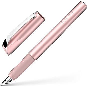 Schneider Ceod Shiny Stylo-plume brillant, pour droitier/gaucher, plume de tailleM, avec cartouche d'encre bleu roi, rose poudré