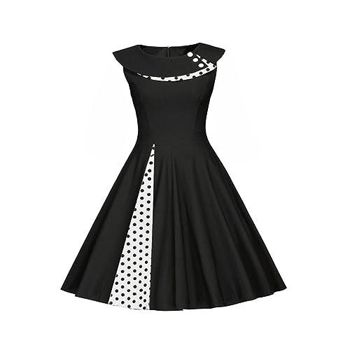Là Vestmon Vestido de cóctel retro para mujer Swing Vestido de Rockabilly Falda plisada Vestido de noche Vestido de fiesta Vestido de verano Lunares Puntos blancos sin mangas