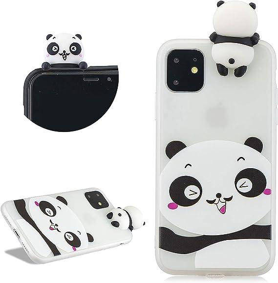 Panda 3D Dessin Animé Silicone Coque iPhone 11,DasKAn Mignon Animaux Motif Couleur Unie Ultra Mince Souple Fine Matte Housse de Protection Arrière ...