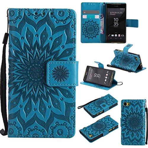 KKEIKO Hülle für Sony Xperia Z5 Compact (Mini), PU Leder Brieftasche Schutzhülle Klapphülle, Sun Blumen Design Stoßfest Handyhülle für Sony Xperia Z5 Compact (Mini) - Blau