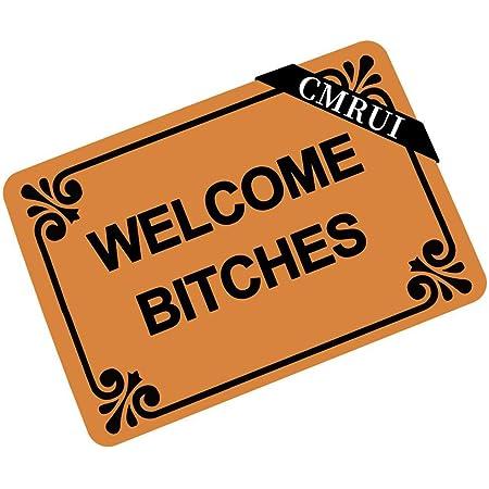 CMRUI Welcome Bitches - Funny Doormat Entrance Mat Floor Mat Rug Indoor/Outdoor/Front Door/Bathroom Mats Rubber Non Slip (23.6 L x 15.7 W)
