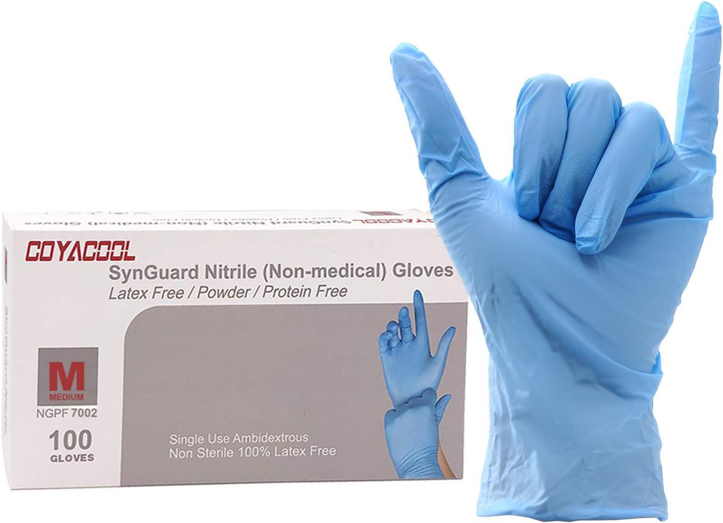 Coyacool Nitrile Gloves Medium, Disposable Gloves, Powder Free a