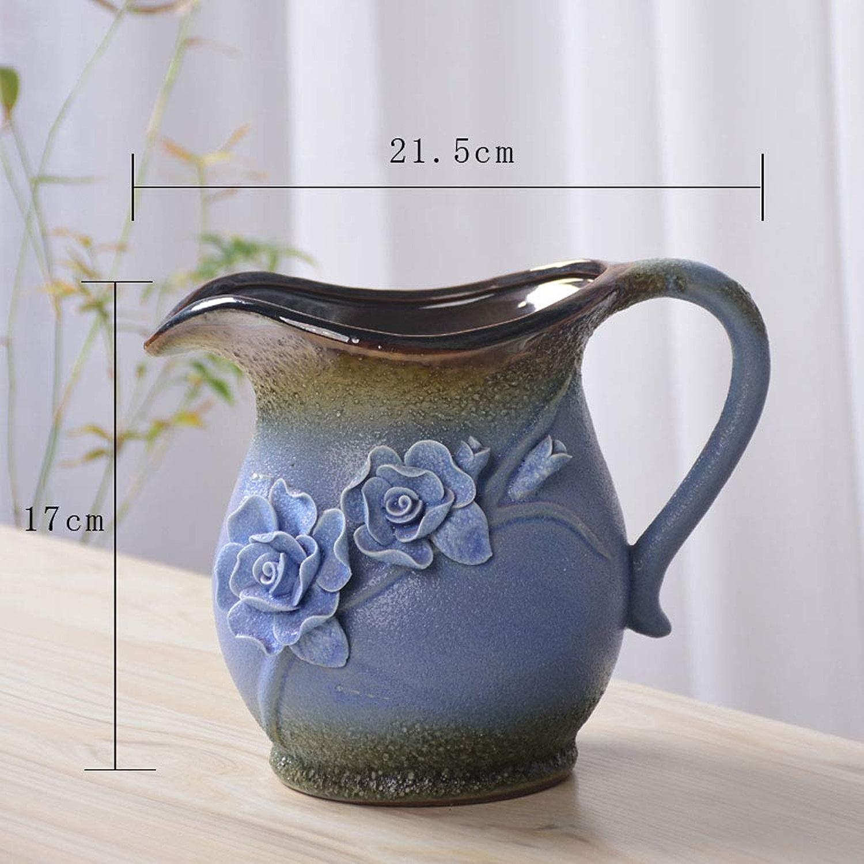 FRF Pot de Fleur- Pots en céramique créatifs pour la Maison, Pots de Plantes Vertes d'intérieur Grands, Moyens et Petits (Couleur   Bleu, Taille   21x17cm)
