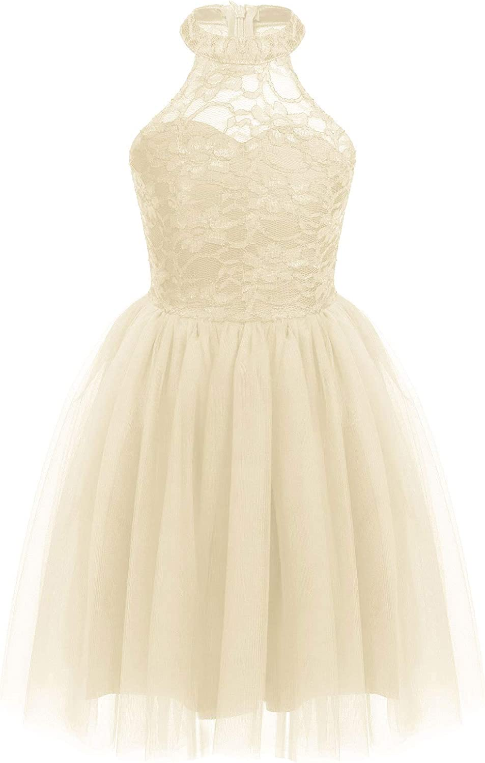 YiZYiF Kids Big Girls Halter Lace Junior Bridesmaid Dress Sleeveless Floral Pageant Prom Dresses