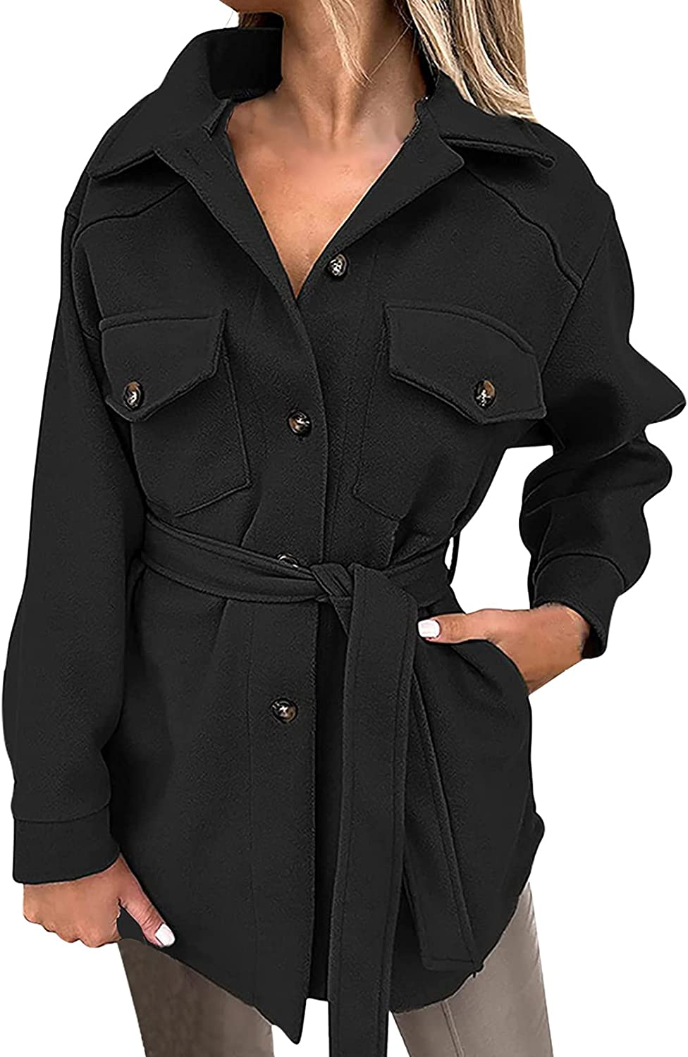 Women's Notched Lapel Collar Trench Coat With Belt Solid Color Long Sleeve Single Breasted Mid-Long Coat With Pocket