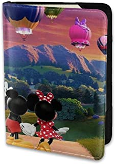 Passport Holder Cover Case Hot Air Balloon Mickey And Minnie Leather Travel Wallet For Women And Men