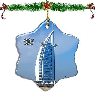 Fcheng UAE Burj Al Arab Dubai Christmas Ceramic Ornament Tree Decor City Travel Souvenir Double Sided Snowflake Sublimation Porcelain Hanging Ornament