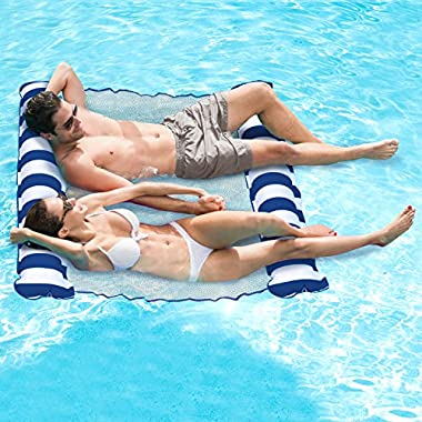 Aqua Catalina Inflatable Hammock, 2 Person Pool Float, Navy Water Lounge