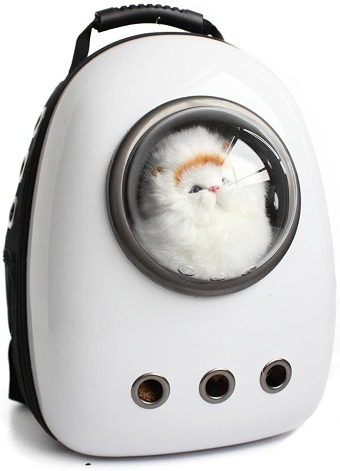 Astronaut Capsule Pet Backpack Airline Approved Transparent Breathable Venthole Dog Cat Carrier Portable Handbag Outdoor Travel Walking Hiking Suitcase 4 color , whitethreehole