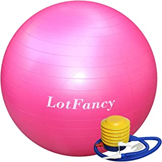 LotFancy Exercise Stability Ball with Foot Pump Fitness Balance Ball for Yoga Pilates Gym,  Thick,  Heavy Duty,  Anti-Burst,  55cm 65cm 75cm Available