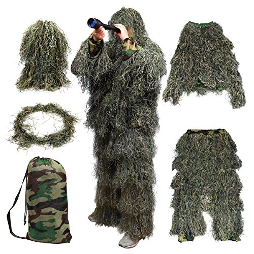 Goetland 5 PCS Camo 3D Ghillie Suit Kit Camouflage Clothing Woodland Forest Tactical Hunting Wargame