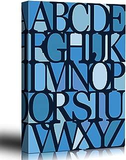 wall26 - Monochromatic Blue Alphabet Wall Art - Art Deco - Modernist - Canvas Art Home Decor - 24x36 inches