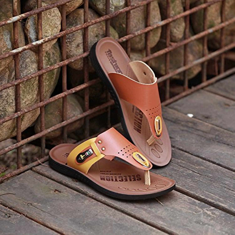 ZHANGJIA Men'S Toe Sandals, Anti Slip Flip Flops, Beach shoes, Korean Slippers,39,Brown 8891