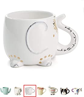 White Ceramic Coffee or Tea Mugs: Tri-Coastal Design Elephant Coffee Mug with Hand Printed Designs and Printed Saying - 18.6 Fluid Ounce Large, Cute Handmade Cup