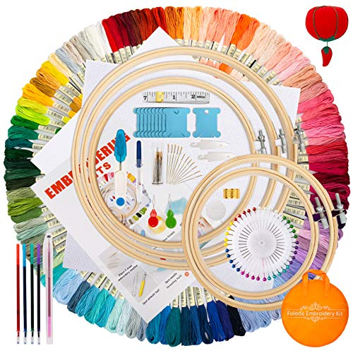 Embroidery Starter Kit,100 Color Threads,5 PCS Bamboo Embroidery Hoops,2 PCS 11.8 inches Aida Cloth,and Cross Stitch Hand Embroidery NeedlePoint Kit Beginner Supplies
