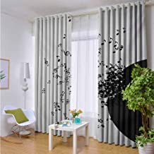 Andrea Sam Exterior/Outside Curtains Music,Abstract Design Flying Music Notes Disc Album Dancing Nightclub Print,Ivory Black and Yellow,W72 xL96 Silver Grommet Top Drape