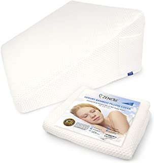 LUXELIFT 12 inch Replacement Wedge Pillow Cover Only for Standard Size Bed Wedges 24 x 24 x 12