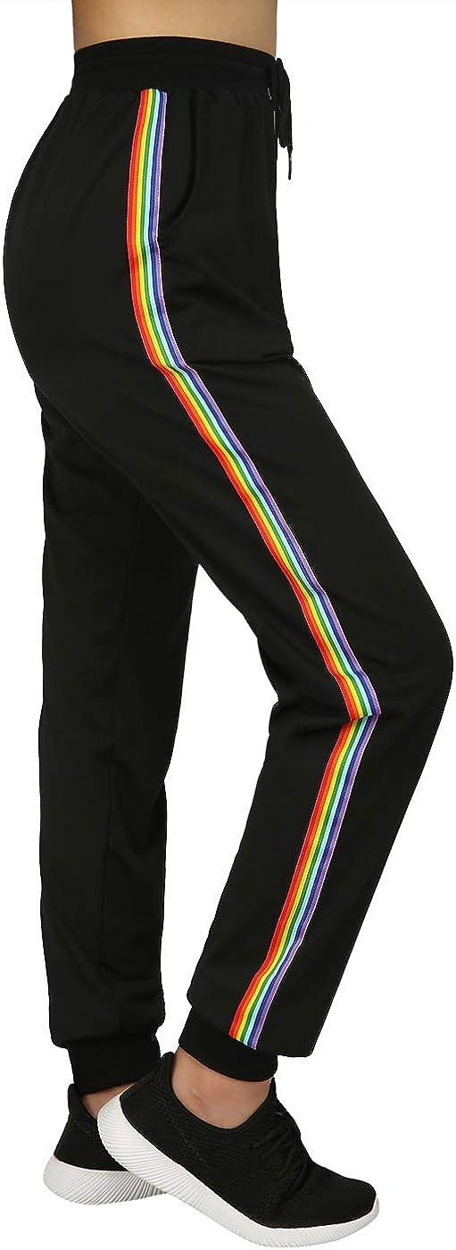 HDE Max 53% OFF Striped Joggers Pants for Sweatpant Jogger Active Atlanta Mall Women Yoga
