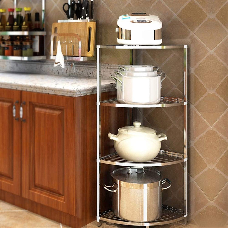 YChoice Rack Decor 304 Stainless Steel Kitchen Triangle Floor Multi-Layer Rack Corner Rack Put Pot Shelf Multifunctional Kitchen Utensils (Size   5)