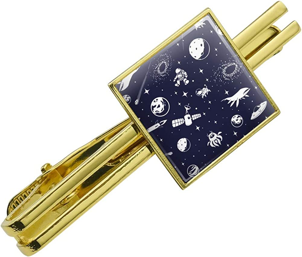 GRAPHICS & MORE Space Pattern with Stars Planets Aliens Astronauts Spaceships Dogs Square Tie Bar Clip Clasp Tack Gold Color