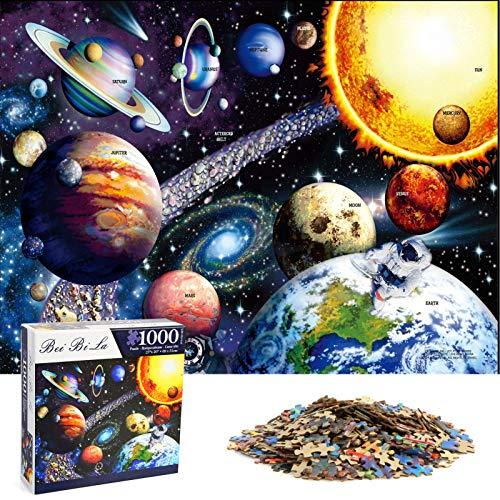HshDUti Puzzle da 1000 pezzi colorati con sistema solare, nove pianeti, per lo spazio e la ricerca spaziale Jigsaw, giocattolo educativo regalo per adulti e bambini