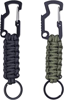 Easere Outdoor Paracord Survival Keychain Paracord Lanyard Keychain with Carabiner Bottle Opener Screw Wrench for Keys, Kn...