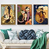 HD Print and Posters Canvas Painting Klimt Abstract Animal Cat Modern Home Decor Wall Art Picture for Living Room Sin Marco 50x70cmx3 sin Marco