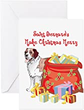 CafePress Merry Christmas St Bernard Greeting Card, Note Card, Birthday Card, Blank Inside Matte