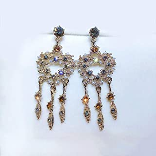 Girl Silver Needle Studded Diamond Ear Pendant Fashion Exaggerated Loving Heart Long Section Earrings Trend Ear Ornaments Jinlyp (Color : Silver Needle-Vintage Gold)