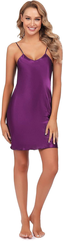 Pyqian Women Nightgown Over item handling ☆ Satin Slips Spaghet online shopping Dress Mini Soft