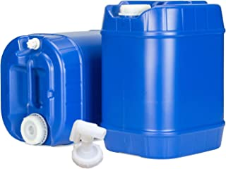Emergency Water Storage 5 Gallon Water Tanks - 10 Gallons Total (2 Tanks) - 5 Gallons Ea. w/Lids + Spigot - Food Grade, Portable, Stackable, Easy Fill - Survival Supply Water Container