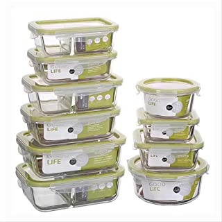 HHQSC Lunch Box Glass Lunch Box Microwave Oven Heating refrigerated Sealed Leakproof Food Container Transparent Borosilica...
