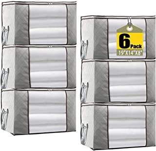 JERIA 6-Pack Foldable Closet Organizer Clothing Storage Bags with Clear Window, Reinforced Handle and Sturdy Zipper (Gray)
