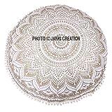 Golden ombere algodón redondo Pom Pom Tapestry, Hippy Mandala de hojaldre Golden ombere redondo puff, tamaño 32 x 32 Boho Decoración De Dormitorio Picnic playa
