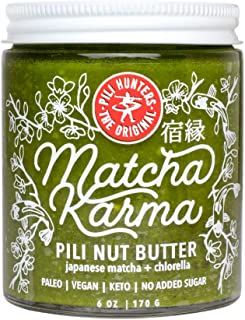 PILI HUNTERS The Original Matcha Pili Nut Butter Spread with Chlorella, Keto, Paleo, Vegan, Low Carb Energy, No Sugar Added, Ketogenic Fat, Ketosis Superfood, Gluten/Soy/Dairy Free, (6 oz. Jar)