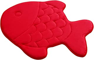 TINTON LIFE Washable Cartoon Ground Mat Fish Shaped Memory Foam Mat Rug for Doormat Kitchen Bedroom Bathroom (Bright Red)
