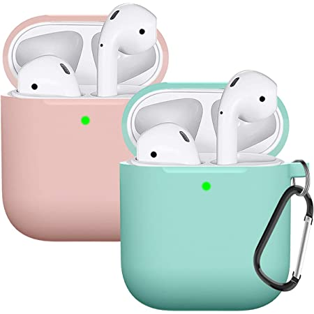 Compatible AirPods Case Cover Silicone Protective Skin for Apple Airpod Case 2&1 (2 Pack) (Pink-Turquoise)