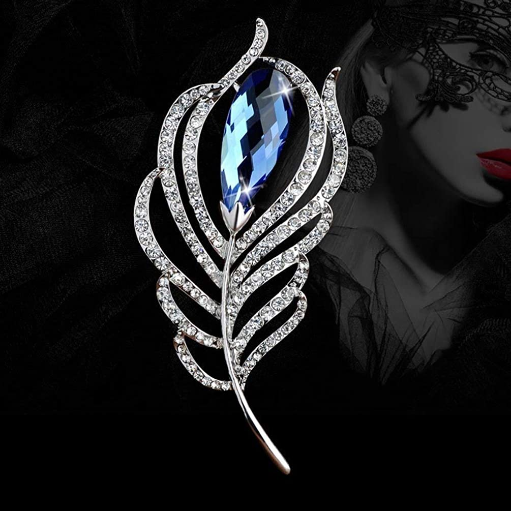 Fashion Blue Crystal Feather Brooch Pin Scarves Buckle Shawl Clasp Luxury Flower Brooch Accessories for Women Girl Xmas Gift