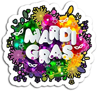 Hand Wooden Customizable Sticker Mardi Gras for Women Ladies Artistic Fat Tuesday Stickers Personalize (3 pcs/Pack)