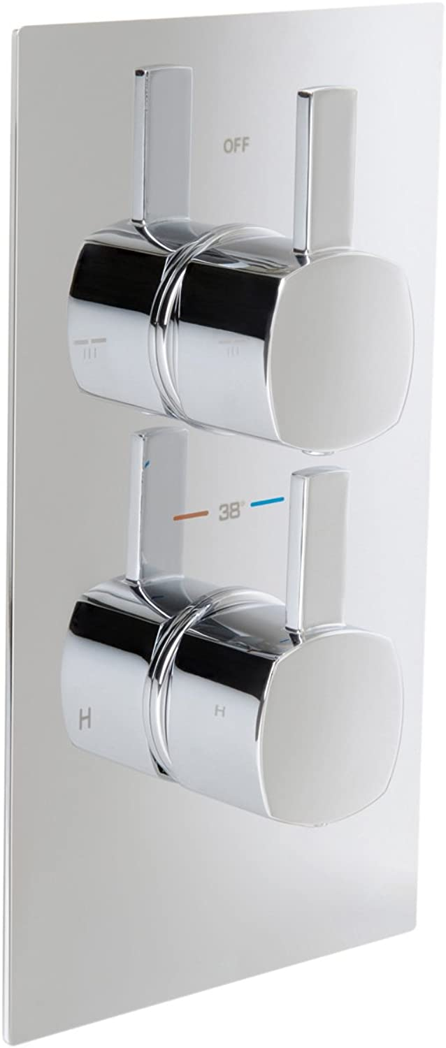 IBathUK 2 Way Square Chrome Concealed Thermostatic Mixer Shower Valve Digreener Outlet