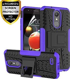 RioGree LG Aristo 2 Case, LG Aristo 3/Rebel 4 LTE/Aristo 2 Plus/Tribute Dynasty/Empire/Zone 4/Phoenix 4/Fortune 2/Risio 3/K8 Plus + 2018 Phone Case, with Screen Protector Kickstand Boys Girls, Purple