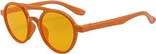 Kids Sunglasses TPEE Adjustable Round Eyewear Frame Polarized Sunglasses for Children Boys and Girls (Age 5-10)