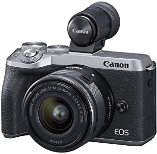 Canon EOS M6 Mark II Mirrorless Camera, (Silver)+Ef-M 15-45mm F/3.5-6.3 IS STM + Evf Kit, 3612C011