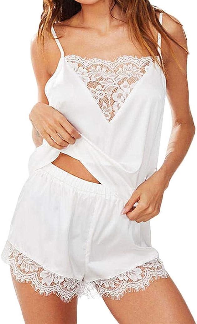 NREALY PJ Women's Sleepwear Sleeveless Strap Nightwear Lace Trim Satin Cami Top Pajama Sets